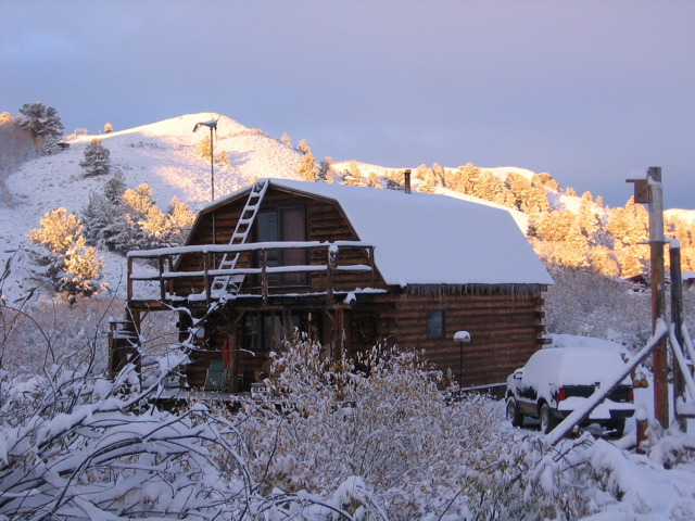 Snow at the cabin