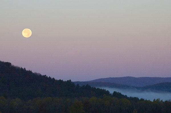 Vermont Moonset, Sunrise